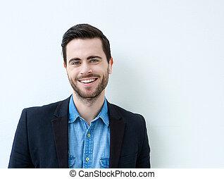 portré, közül, egy, mosolygós, fiatalember