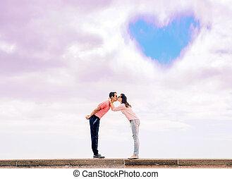 portré, közül, egy, romantikus, csókolózás, párosít, -, szeret, jelkép