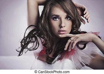 portré, közül, egy, szépség, barna nő