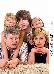portré, közül, egy, vidám család, közül, öt