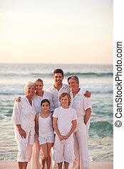 portré, közül, egy, vidám család