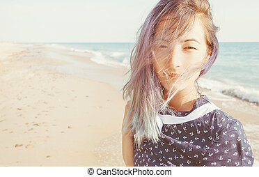 portré, közül, felfordulás életpálya, nő, képben látható, tengerpart.
