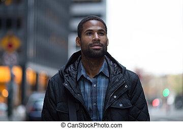 portré, közül, fiatal, african american, profi, a városban