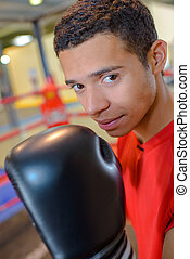 portré, közül, fiatal, bokszoló