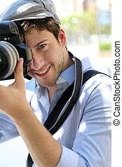 portré, közül, fiatal, fényképész, kitart fényképezőgép
