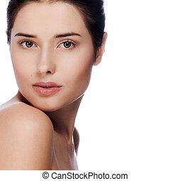 portré, közül, fiatal, gyönyörű woman, noha, egészséges, bőr