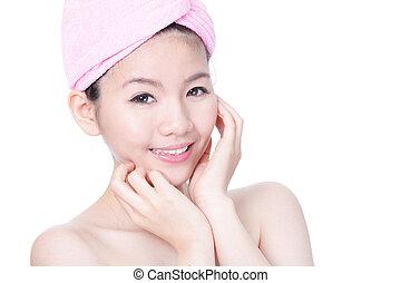 portré, közül, fiatal lány, mosoly, arc, után, fürdőkád, ásványvízforrás