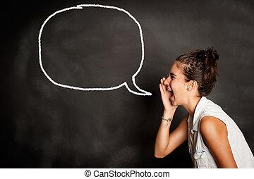 portré, közül, fiatal lány, noha, beszéd panama, képben látható, chalkboard