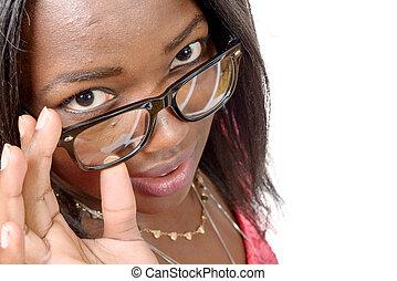 portré, közül, gyönyörű, african american, kisasszony