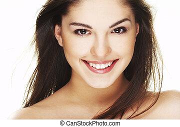 portré, közül, gyönyörű, boldog, kisasszony