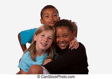 portré, közül, három gyerek, 2 lány, és, 1 fiú, közül,...