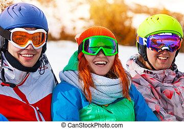 portré, közül, három, mosolygós, matt, fárasztó, védőszemüveg