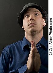 portré, közül, hím, imádkozás