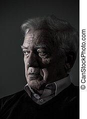portré, közül, idős, ember