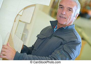 portré, közül, idősebb ember, manual munkás