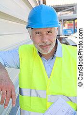 portré, közül, idősebb ember, munkás, noha, biztonság, sisak
