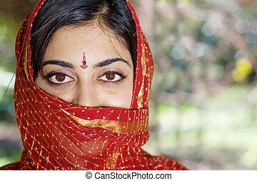 portré, közül, indiai, nő