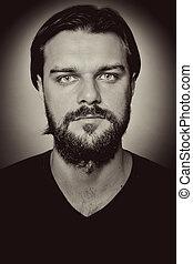 portré, közül, jelentékeny, ember, noha, szakáll