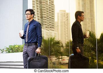 portré, közül, kínai, hivatal munkás, noha, kávéscsésze