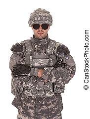 portré, közül, katona