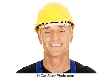 portré, közül, mosolygós, építő, noha, egy, biztonság sisak