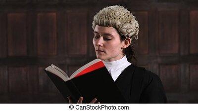 portré, közül, női, ügyvéd, alatt, bíróság, felolvasás,...