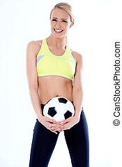portré, közül, női, foci játékos