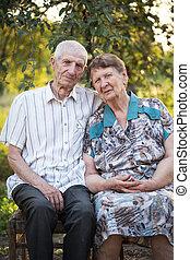 portré, közül, nagyszülők