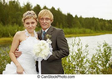 portré, közül, newlyweds, -, külső