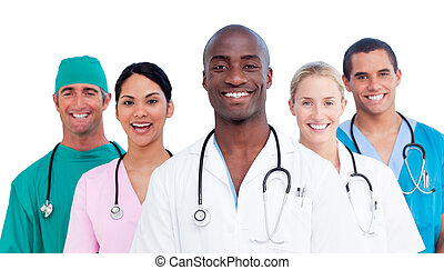 portré, közül, pozitív, orvosi sportcsapat