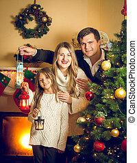 portré, közül, vidám család, feltevő, noha, világító, -ban, karácsonyfa