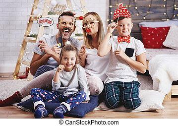 portré, közül, vidám család, noha, karácsony, maszk