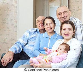 portré, közül, vidám család, noha, newborn csecsemő