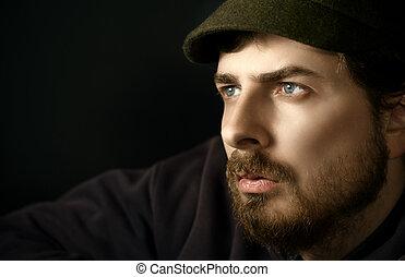 portré, közelkép, gondolkodó, ember