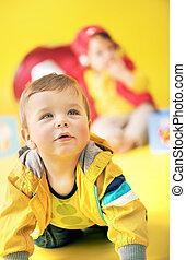 portré, kevés, totyogó kisgyerek, closeup