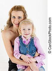 portré, kicsi lány, neki, anya