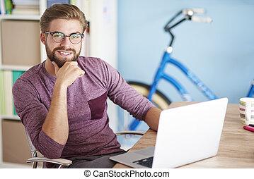 portré, laptop, ember