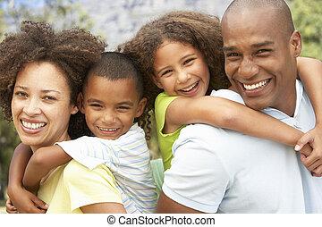 portré, liget, család, boldog