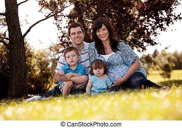 portré, liget, család
