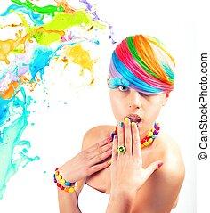 portré, mód, szépség, colorfull