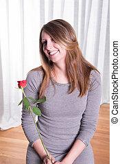 portré, meglehetősen, kisasszony, szerelemben, noha, rózsa