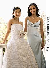 portré menyasszony, és, bridesmaid.