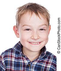 portré, mosolygós, boy., fiatal