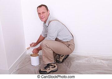 portré, munka, szobafestő