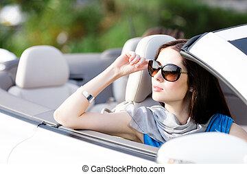 portré, nő, álmodozó, autó