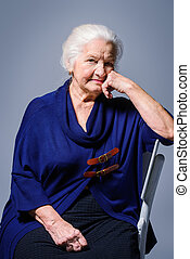 portré, nő, öregedő