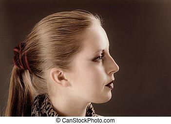 portré, nő, fiatal, bájos