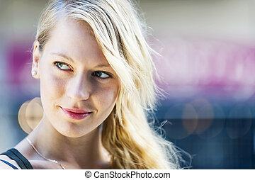 portré, nő, fiatal, szőke