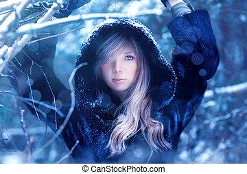portré, nő, fiatal, tél