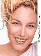 portré, nő, gyönyörű, closeup, mosoly, teljes, fiatal